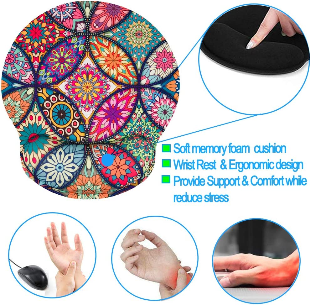 Nakapa Memory Foam Wrist Support Mouse Pad Comfortable Padded Wrist Mousepads 9in X10in Desktop Notebook Mouse Mat Marble Pretty Pink-Foam