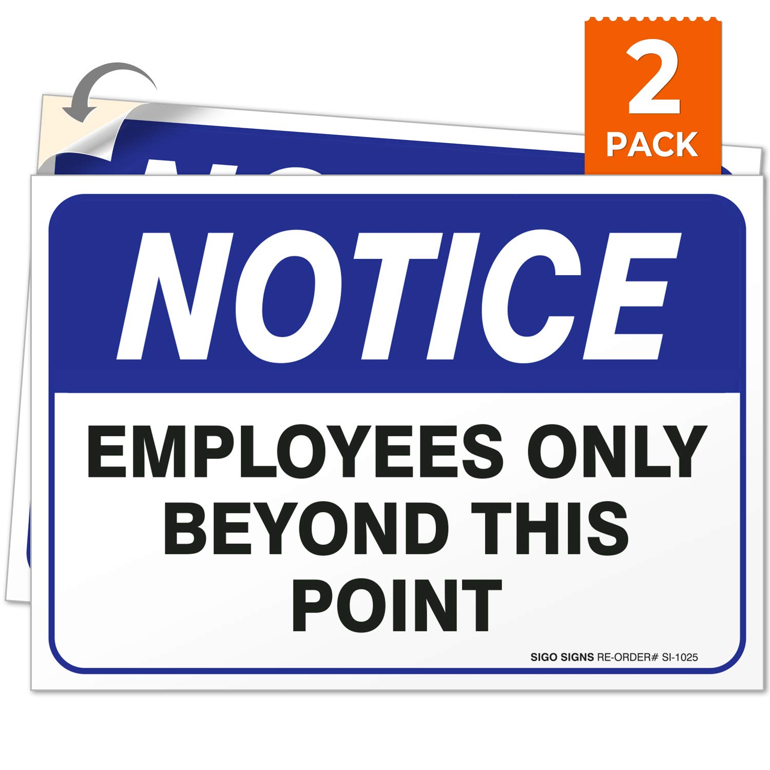 Employees Only Sign, Employees Only Beyond This Point Sign, (2 Pack) 10x7 4 Mil Vinyl Stickers, Weatherproof and UV Protected, Made in USA