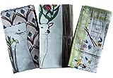 ハンカチ お弁当包み バンダナ かわいい 花柄 3枚セット インド綿 スカーフ アジアン 北欧 おしゃれ カーキ ブラウン ピンク ギフト プレゼント a_bn_095