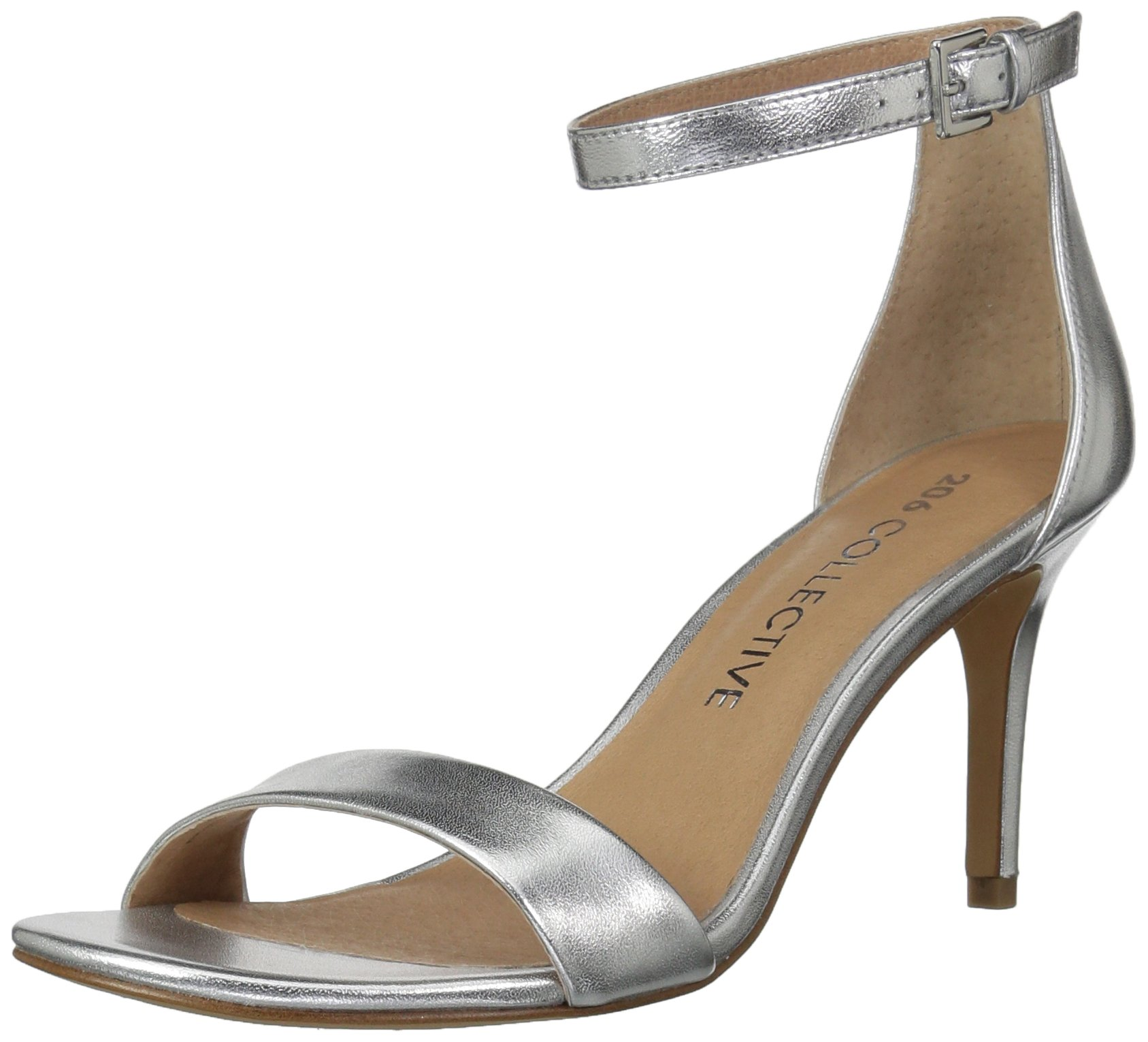 206 Collective Women's Anamarie Stiletto Heel Dress High Heeled Sandal, Silver Leather, 7.5 B US