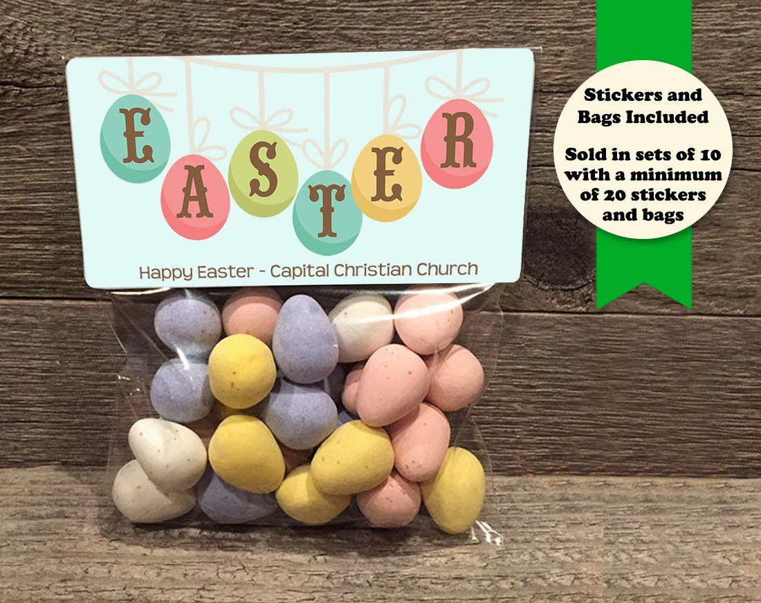Easter Banner Set of 20 Easter Personalized Treat Bags and Stickers