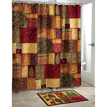 1 Piece Multi Luxury Motif Themed Shower Curtain All Over Beautiful Mosaic Design Square Pattern