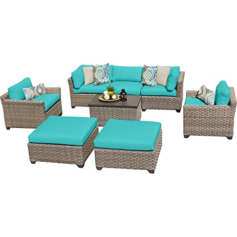 TK Classics 8 Piece Monterey Outdoor Wicker Patio Furniture Set, Aruba 08a