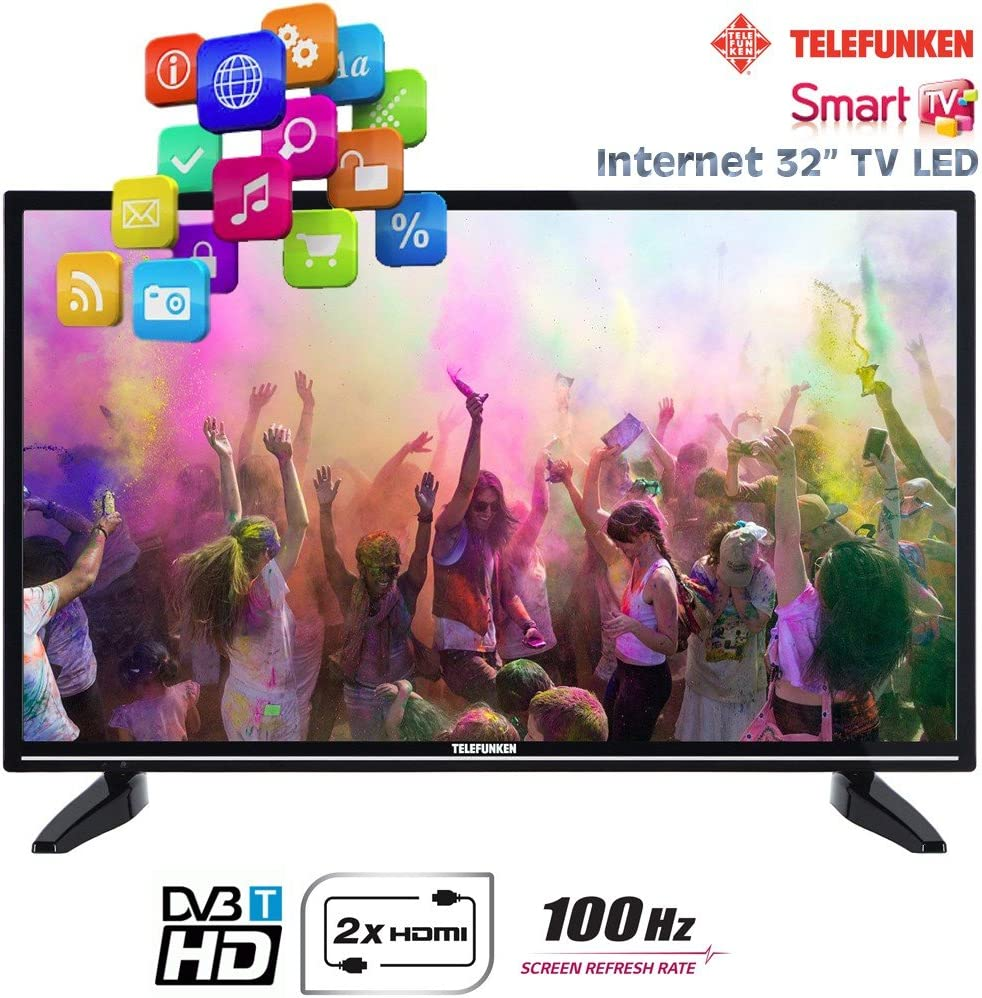Telefunken - Smart TV LED de 32 pulgadas, internet, con 2 HDMI, 1 USB de 100 Hz, HD Ready, VGA, T32TX287DLBPOSX: Amazon.es: Electrónica