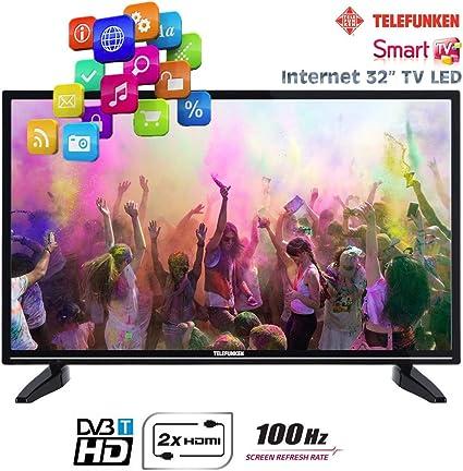 Telefunken - Smart TV LED de 32 pulgadas, internet, con 2 HDMI, 1 USB de 100 Hz, HD Ready, VGA, T32TX287DLBPOSX: Amazon.es: Electrónica
