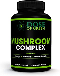 Mushroom Complex Natural Supplement – Powerful Brain Fuel and Immune System Booster – Non-GMO Lion's Mane and Reishi Mushroom Supplements for Energy, Stress Relief and Memory Support