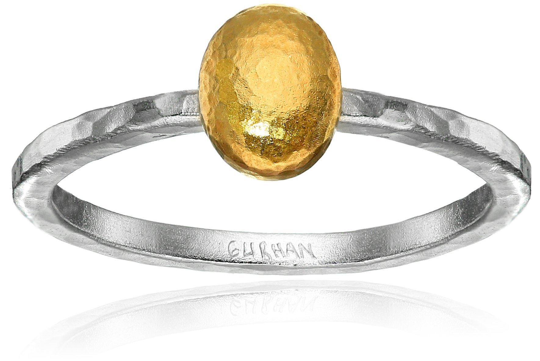 GURHAN Jordan Sterling Silver Layered with 24k Gold Small Stackable Ring, Size 6.5