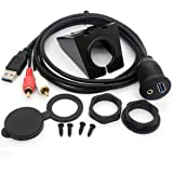 USB RCA Flush Mount Cable- USB 3.0 & 3.5mm AUX 2 RCA Male to USB and 1/8 Audio Stereo Female Dash Panel Mount Extension Code for Car Bike Boat Motor (1 Meter/ 3 Feet)