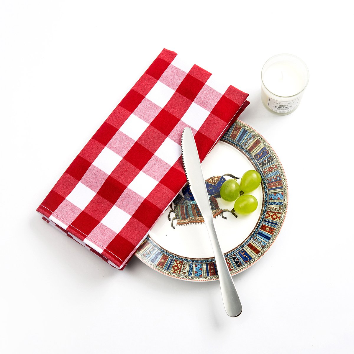 Beely Red-White Gingham Check Cloth Dinner Napkins - Set of 6 Pieces (20 x 20 inches),Five-Star Premium Dinner Napkins,Soft and Durable,Perfect for Parties,Weddings,Cocktail, Birthday or Everyday Use