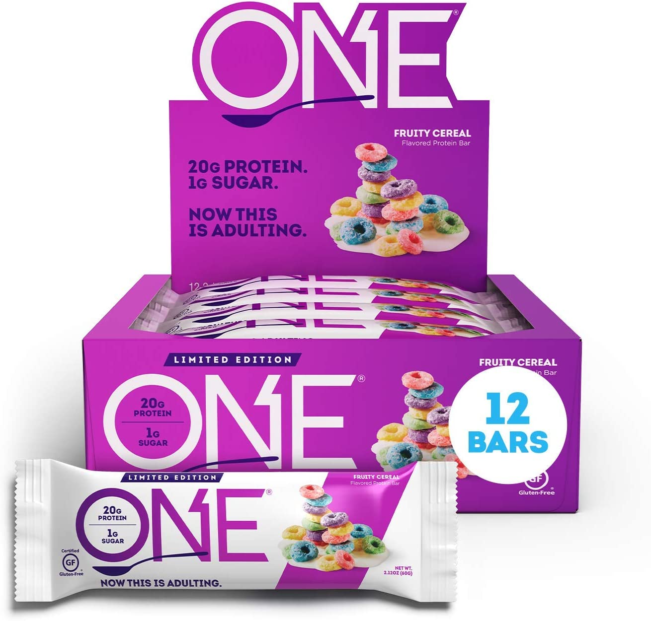 ONE Protein Bars, Fruity Cereal, Gluten-Free Protein Bar with 20g Protein and only 1g Sugar, Snacking for High Protein Diets, 2.12 Ounce (12 Pack)