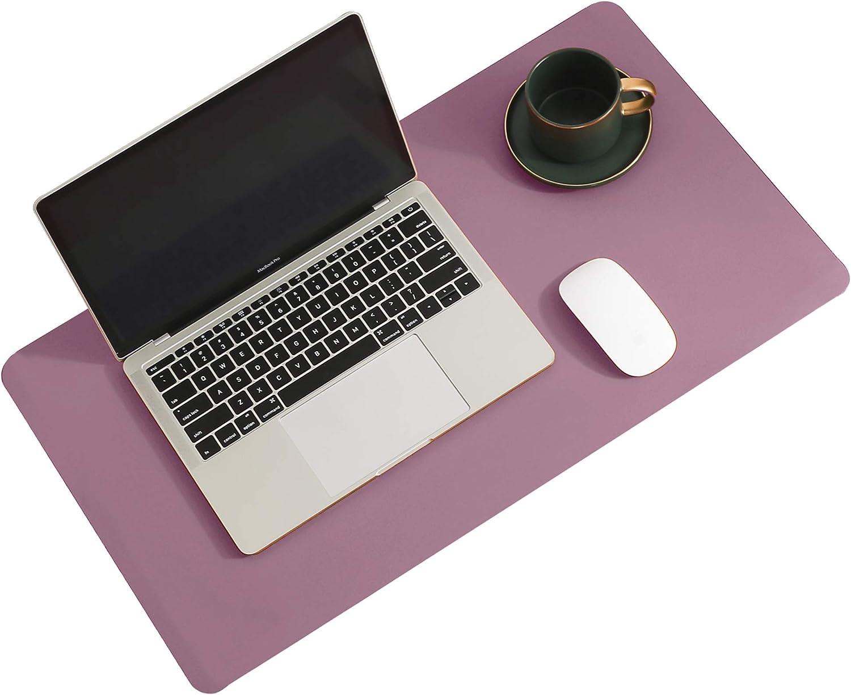 Aothia Schreibtischunterlage Mousepad Mauspad 60cmx35cm Doppelseitige Schreibtischmatte Aus Naturkork Und Pu Leder Rutschfeste Wasserdichte Ledertischmatte Für Büro Und Zuhause Violett Bürobedarf Schreibwaren