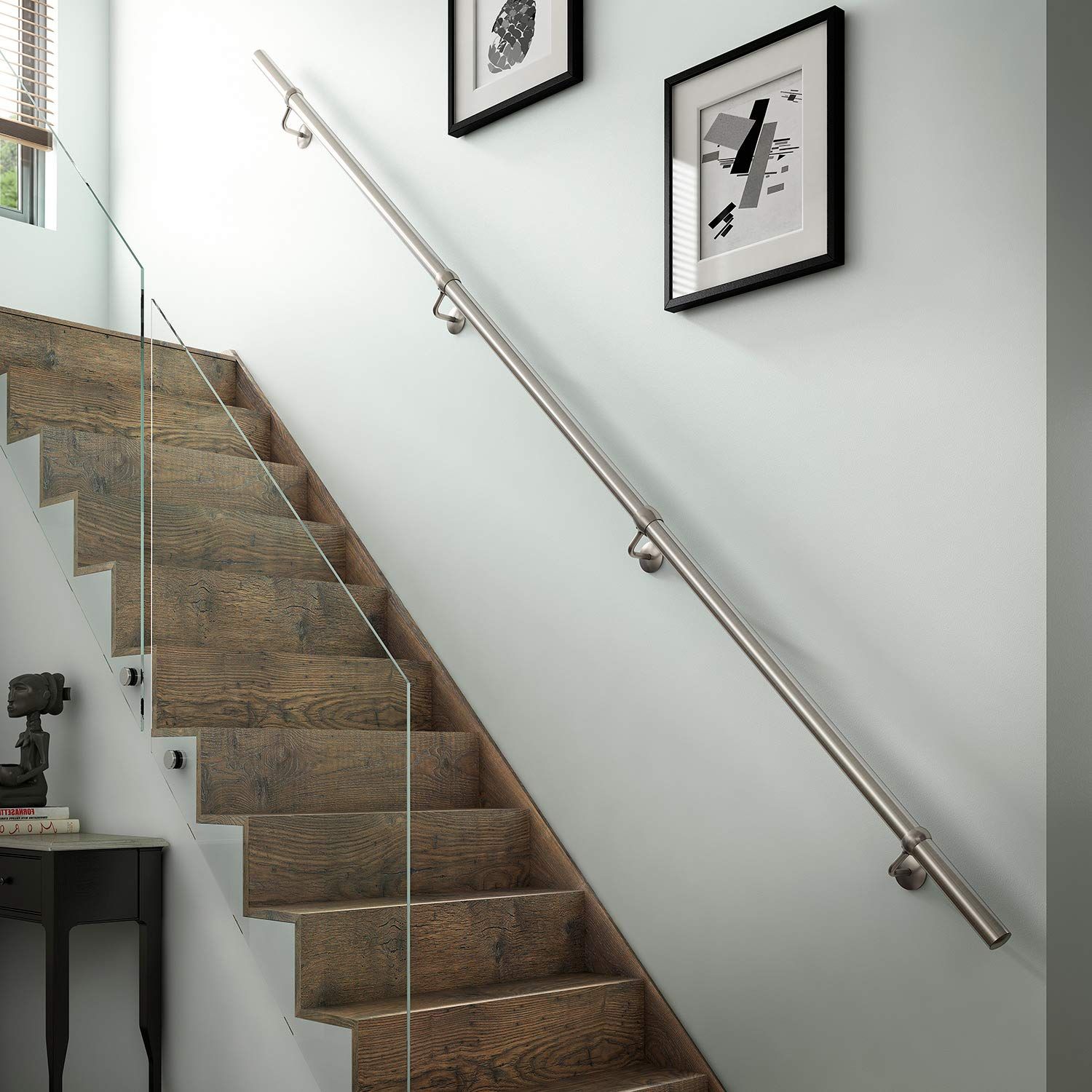 with Classic Domed End Caps Select Length Pre-assembled Satin-Polish Brushed Stainless Steel Stair Handrail
