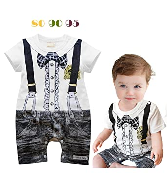 125c7161390e4 Image Unavailable. Image not available for. Color: Handsome Tuxedo Print Baby  Boy Cotton Romper ...