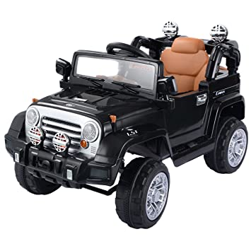 costzon 12v mp3 kids ride on truck jeep car rc remote control w led lights