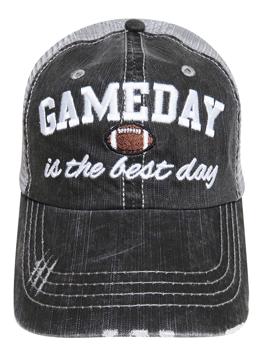 47775d3b74601 Embroidered Game Day is The Best Day Distressed Look Grey Trucker Cap Hat  Football at Amazon Women s Clothing store