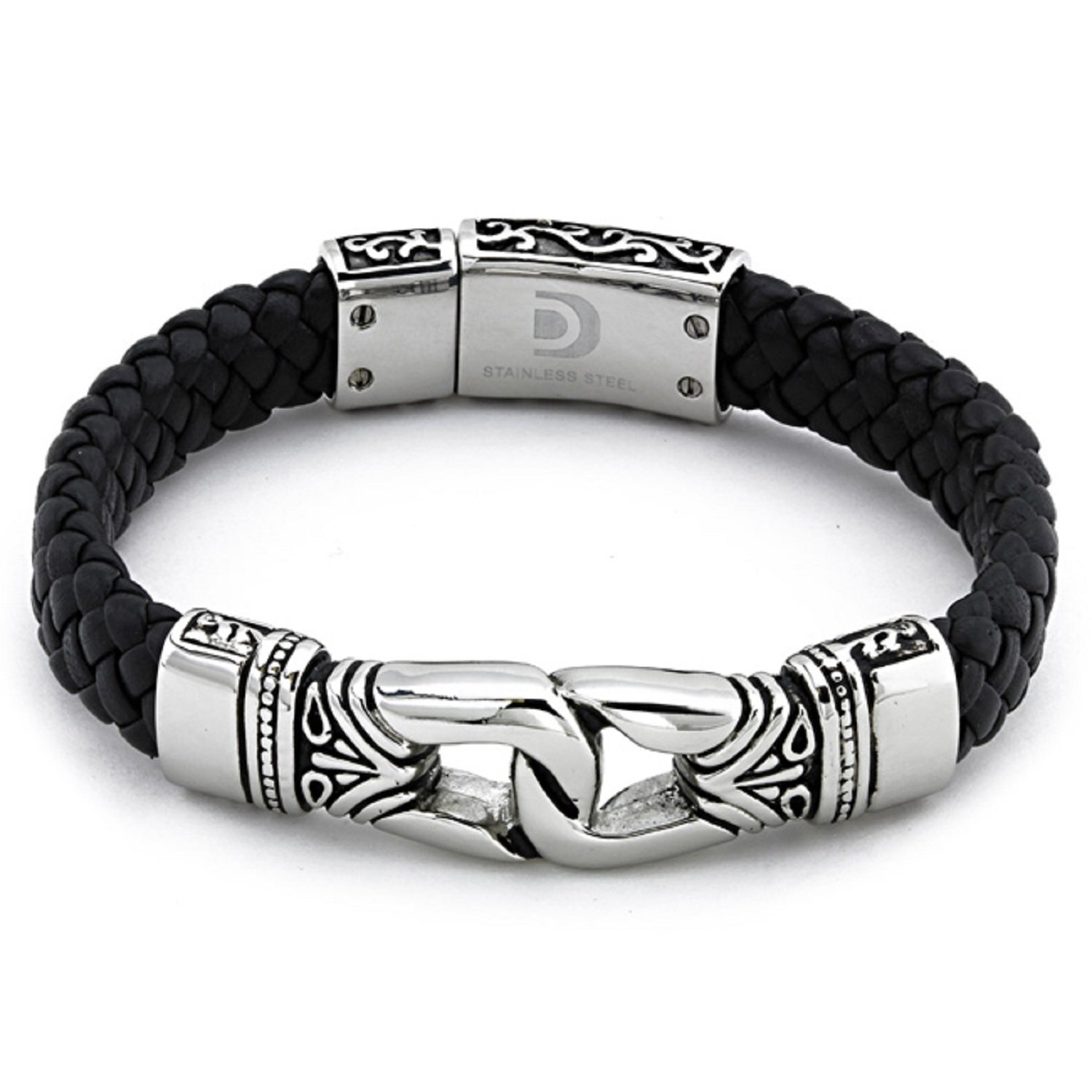 Antique Braided Black Leather Men's Bracelet Stainless Steel by AX Jewelry (Image #1)