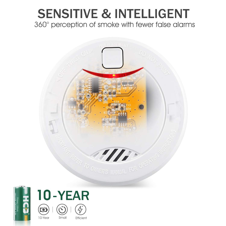 Alarma de humo independiente de 10 años con batería HEIMAN, VdS, BOSEC, EN14604, detector de humo con certificación CE, sensor fotoeléctrico de prueba ...