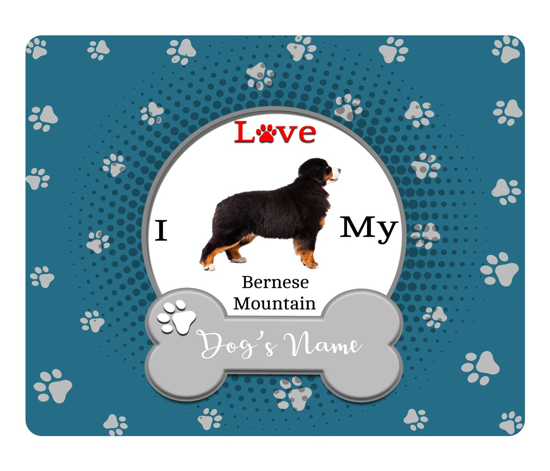 BleuReign(TM) Personalized Custom Name I Love My Dog Bernese Mountain Square Refrigerator Fridge Magnet