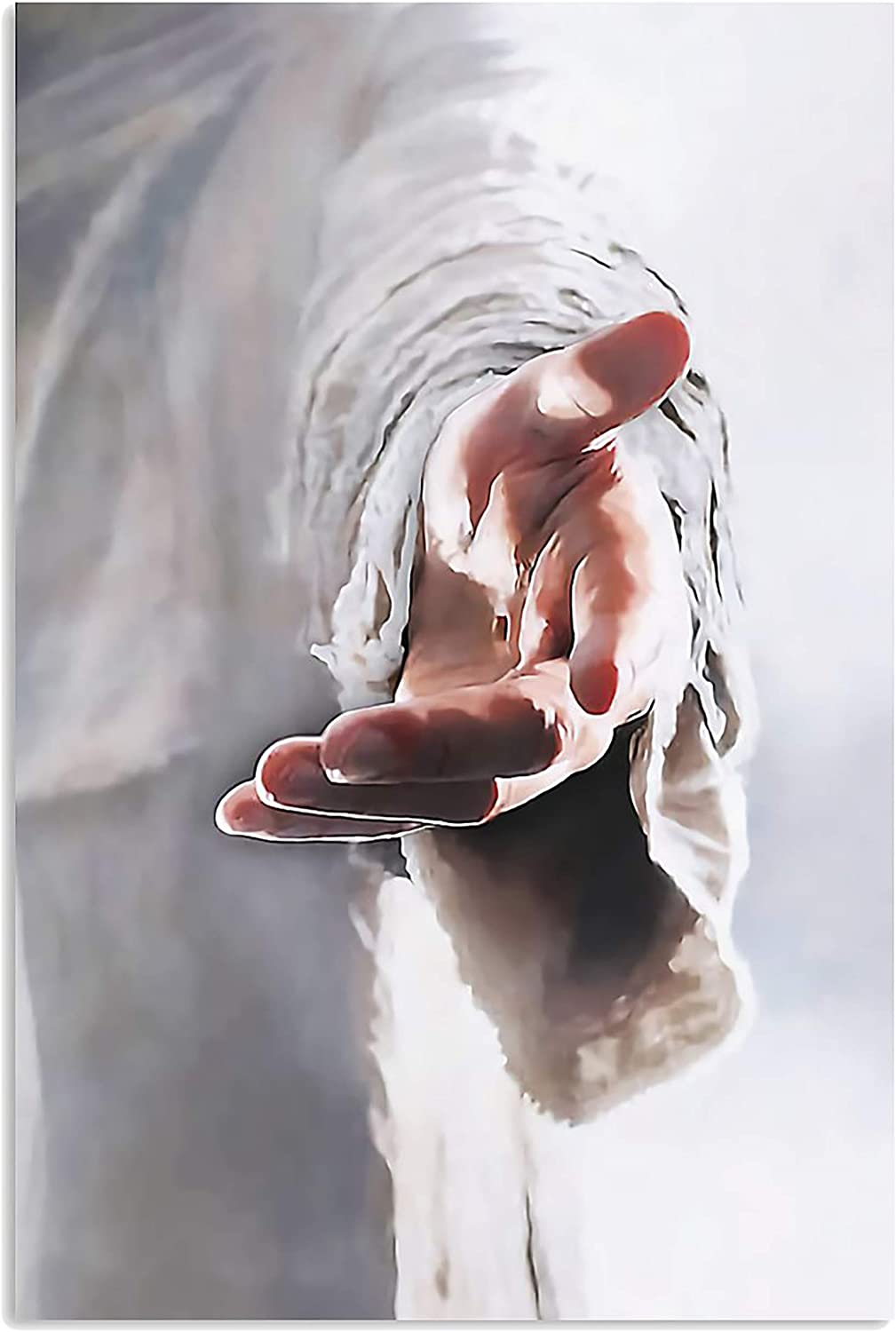 Designfullprint Faith Over Fear Give Me Your Hand Jesus Vertical Poster Wall Art Hanging Home Decor Office Decorations Gift for Christian (16