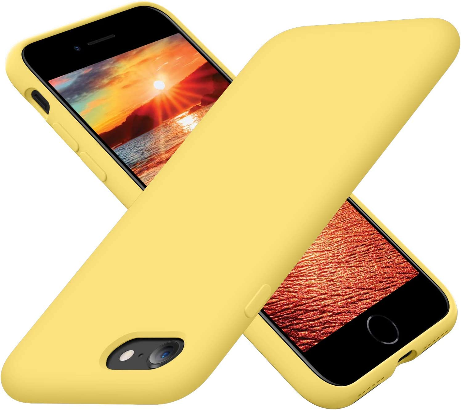 Cordking iPhone SE 2020 Case, iPhone 7 8 Case, Silicone Ultra Slim Shockproof Phone Case with [Soft Microfiber Lining], 4.7 inch, Yellow
