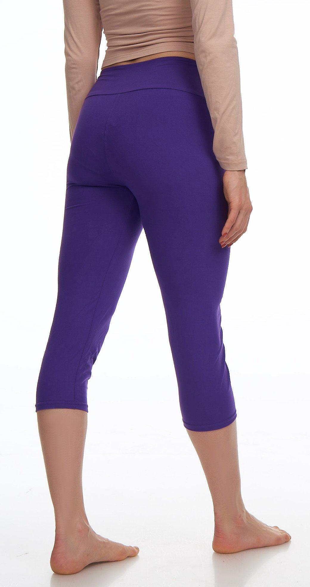 Lush Moda Extra Soft Leggings Variety of ColorsPlus Size Yoga Waist Purple, One Size fits Most (XL 3XL), Purple Yoga Waist by LMB (Image #4)