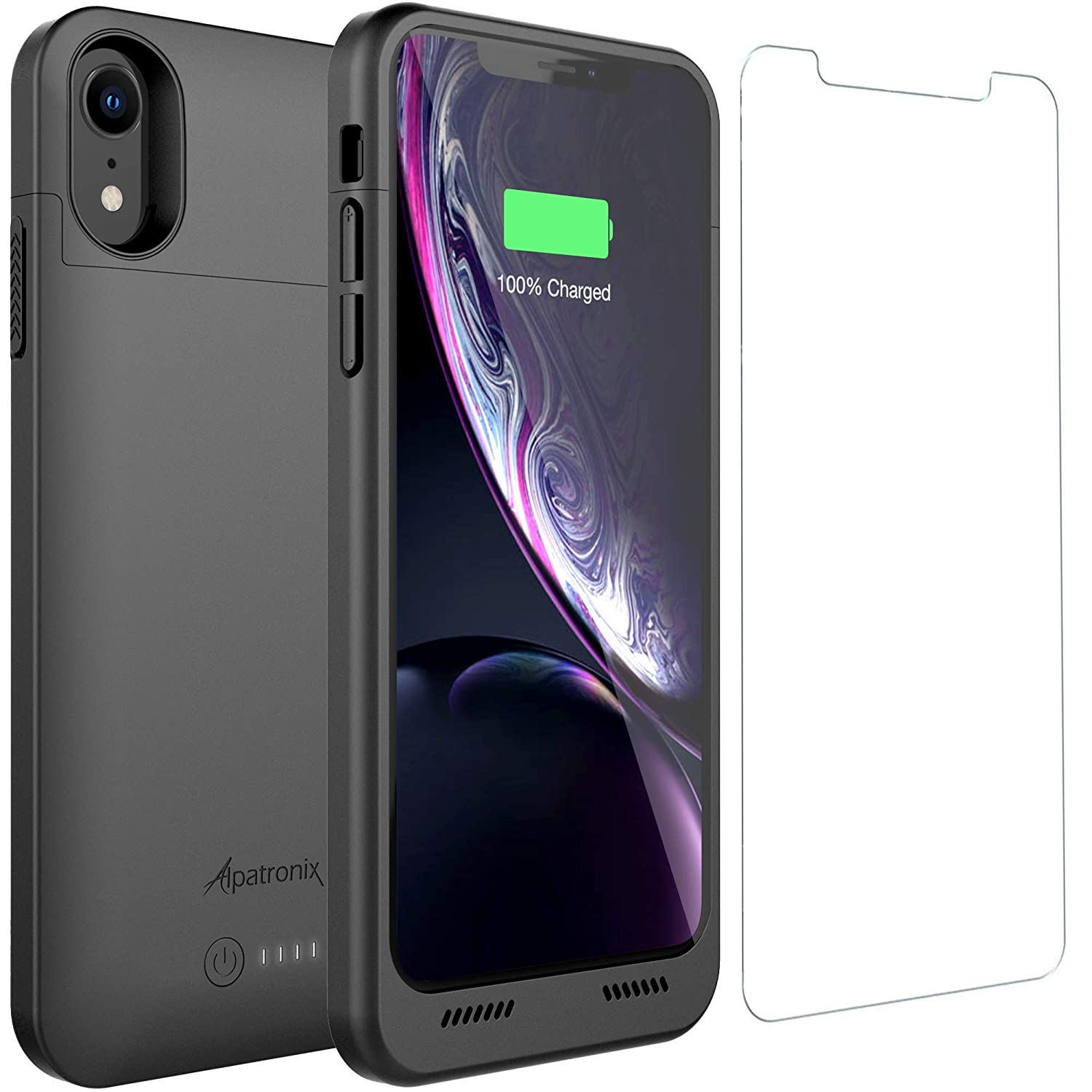 iPhone XR Battery Case with Qi Wireless Charging Compatibility, Alpatronix BXXr 6.1-inch 5000mAh Rechargeable Protective Extended Portable Charger for Apple iPhone XR Juice Bank Power Case - Black