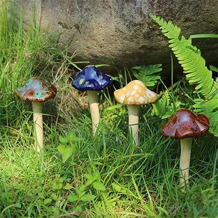 Amazon Com Danmu 4pcs Random Color Ceramic Mushroom For Garden