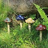 "Danmu 4pcs (Random Color) Ceramic Mushroom for Garden, Yard, Fairy Garden - Lawn Ornament Décor, Pottery Ornament 4.52"" in Height"