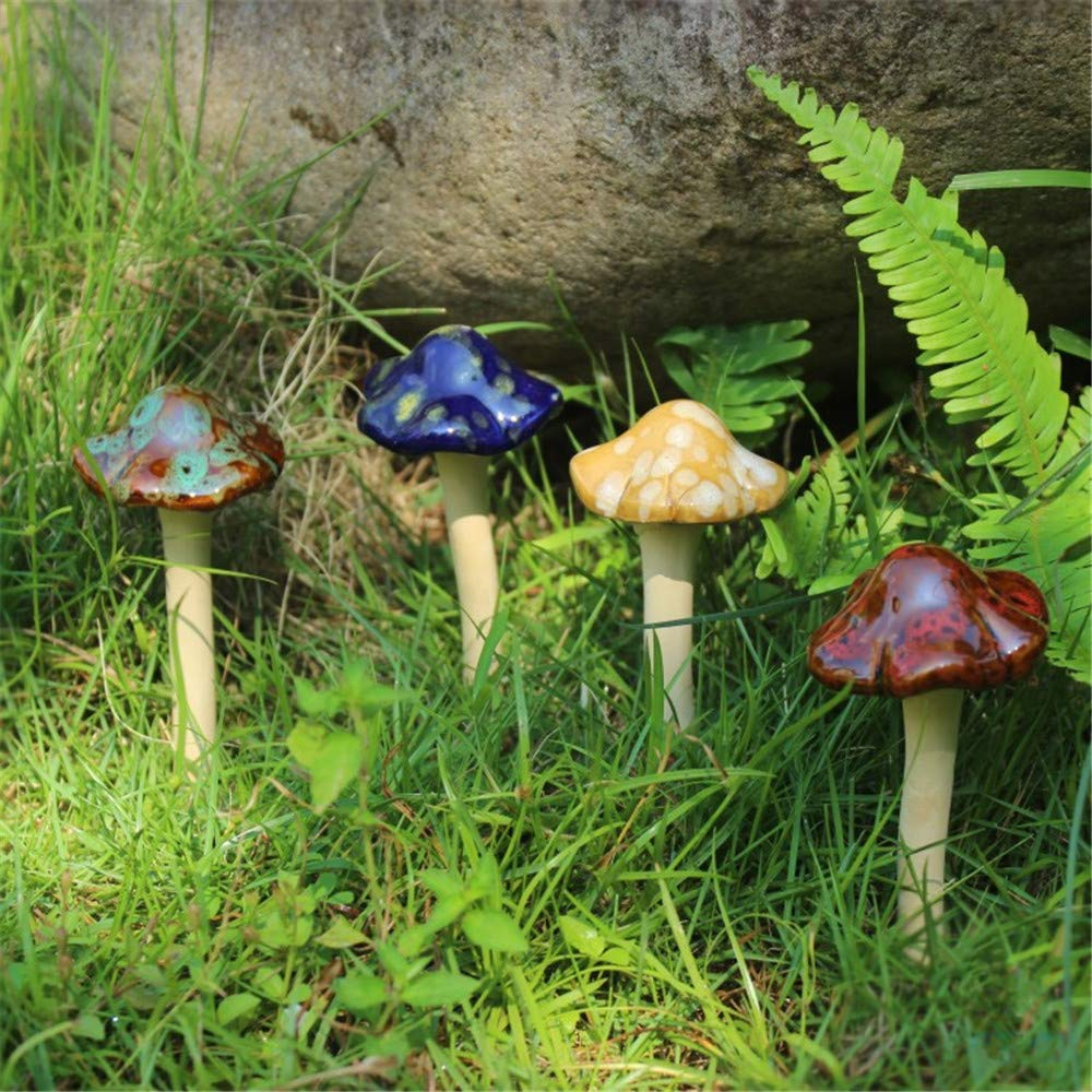 "Danmu 4pcs (Random Color) Ceramic Garden Mushrooms Lawn Ornament Décor Pottery Ornament 4.52"" in Height"