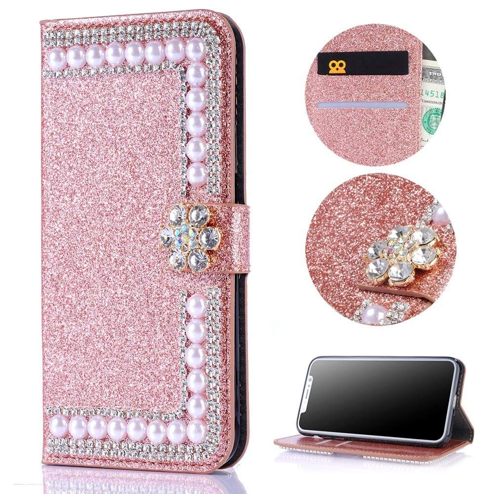 Stysen Galaxy S6 Edge Wallet Case,Galaxy S6 Edge Glitter Flip Case, Rose Gold Bookstyle with Strass Flower Buckle Protective Wallet Case Cover for Samsung Galaxy S6 Edge-Flower,Rose Gold