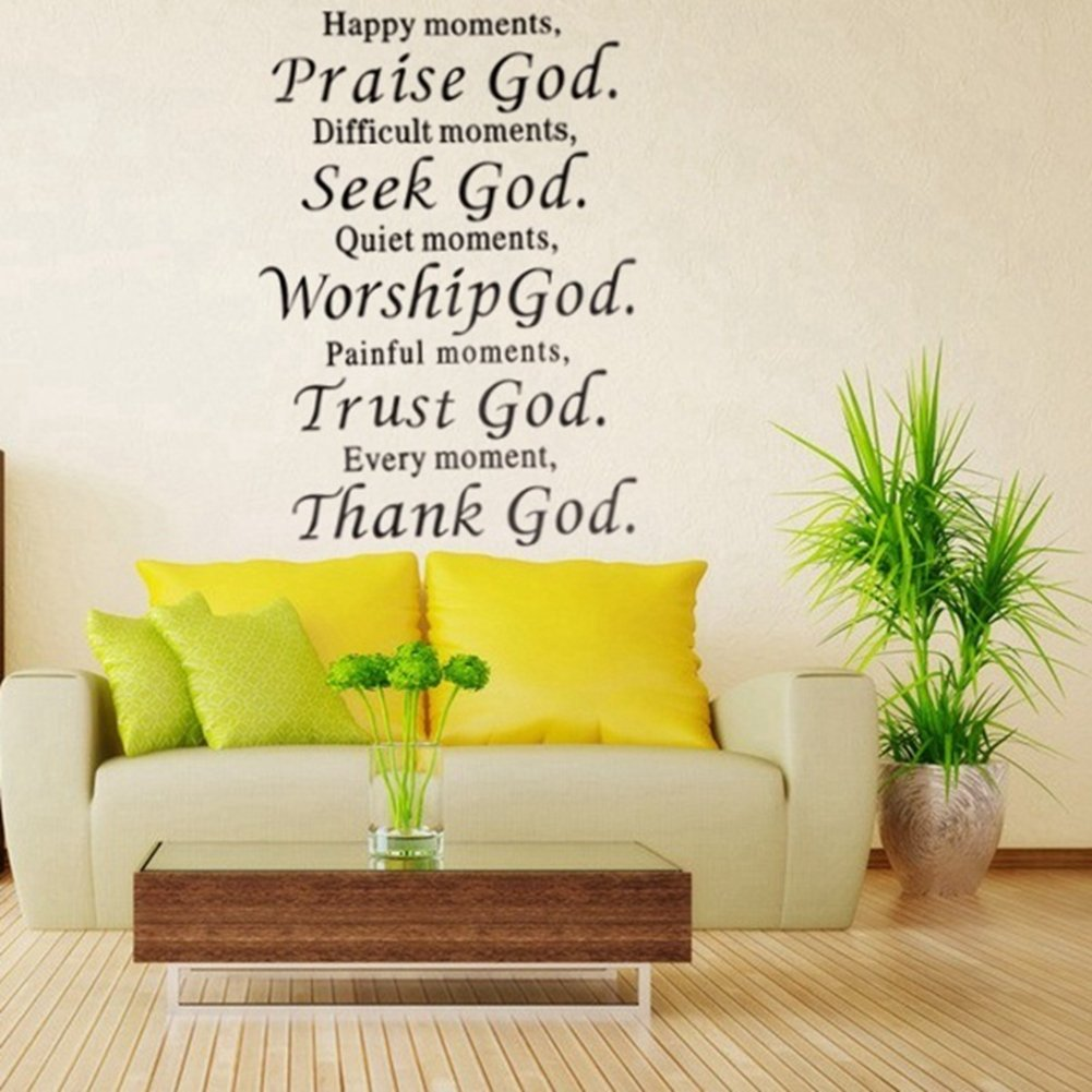 Mural Wallpaper, Praise God Removable Sticker Phrase Word - Happy ...
