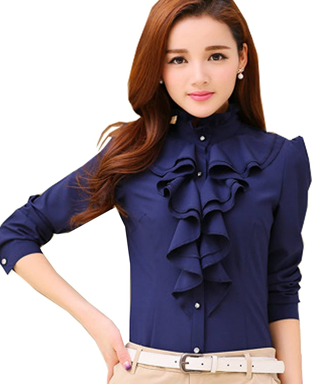 baf13e127688d Voguegirl Women Career Fitted Lace Tops Ruffle High Neck Long Sleeve Shirt  Blouse