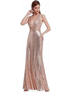 Ever Pretty Lang Pailletten Elegant Partykleid Cocktailkleid  V-Halsausschnitt Abendkleid 07109 0c65638e7f