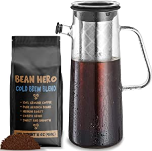 Cold Brew Coffee Maker 1L Glass Pitcher + 1LB Ground Beans for Coldbrew. Full System for Brewing Large Batch Ice Coffee or Concentrate with Pierced Stainless Steel Mesh Filter and 34 oz Glass Carafe