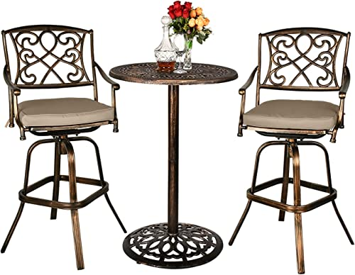 Haverchair Height Patio 360-Swivel Stools Bar Table Set Outdoor Cast Aluminum Bistro All-Weather 3-Piece Dining Table and Chairs Set
