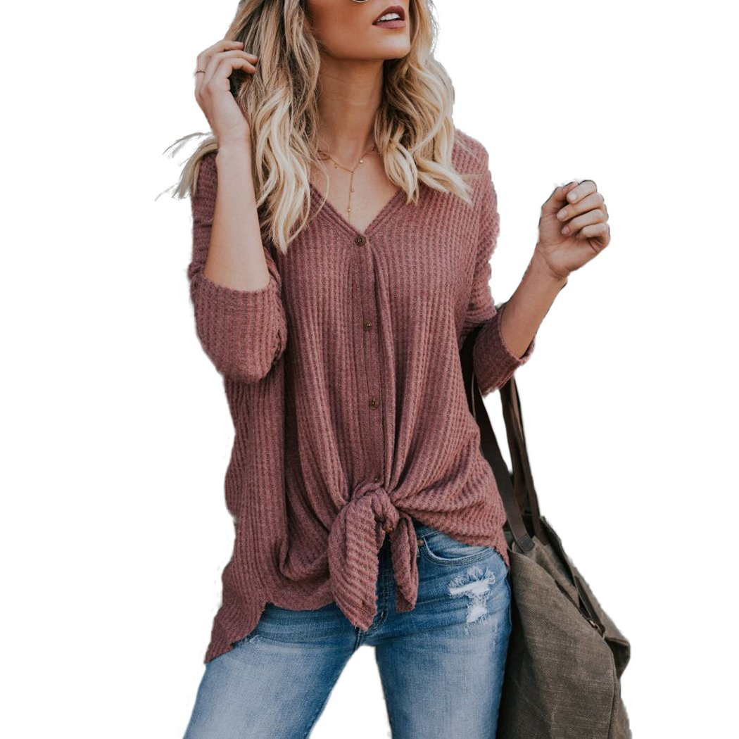 Raylans Women's Summer Long Sleeve Casual Button Down Shirts Tie Front Knot Tops BRT-NZ539