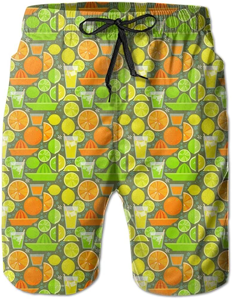Shadidi Mens Summer Fruit Juice Watermelon Orange Quick-Dry Running Swim Trunks Boader Shorts Beach Swimsuit Sports