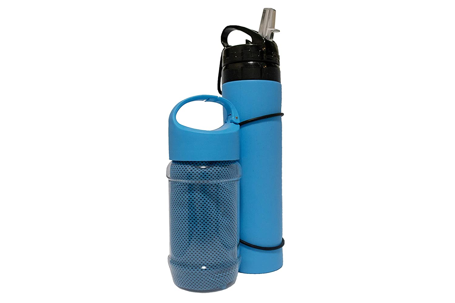 BPA Free Leak-Proof Silicone Campfire Products Collapsible Water Bottle and Bonus Cooling Towel Ideal refillable Water Bottles for Travel Sport Camping Hiking