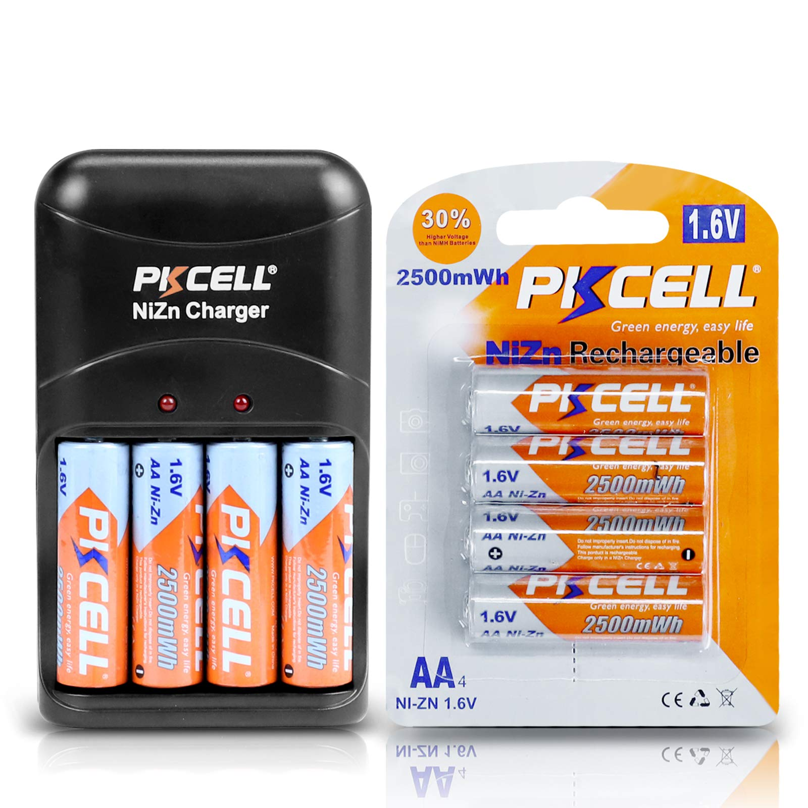 PKCELL Rechargeable AA Batteries NiZn Double A 1.6V 2500mWh Battery- 4Count with Ni-Zn AA/AAA Battery Charger