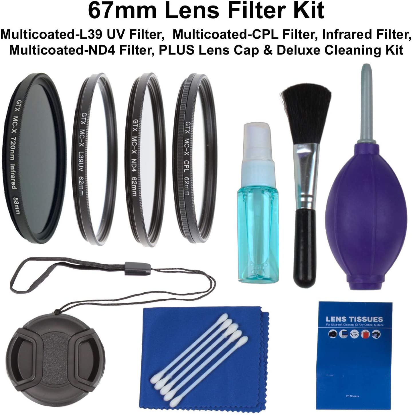 CPL Includes: Schott Glass Multicoated L39 UV Lens Cleaner Kit Sunset Foto67 mm Lens Filter and Accessory Kit IR Infrared 720nm Lens Cap and ND4 Lens Filter Set