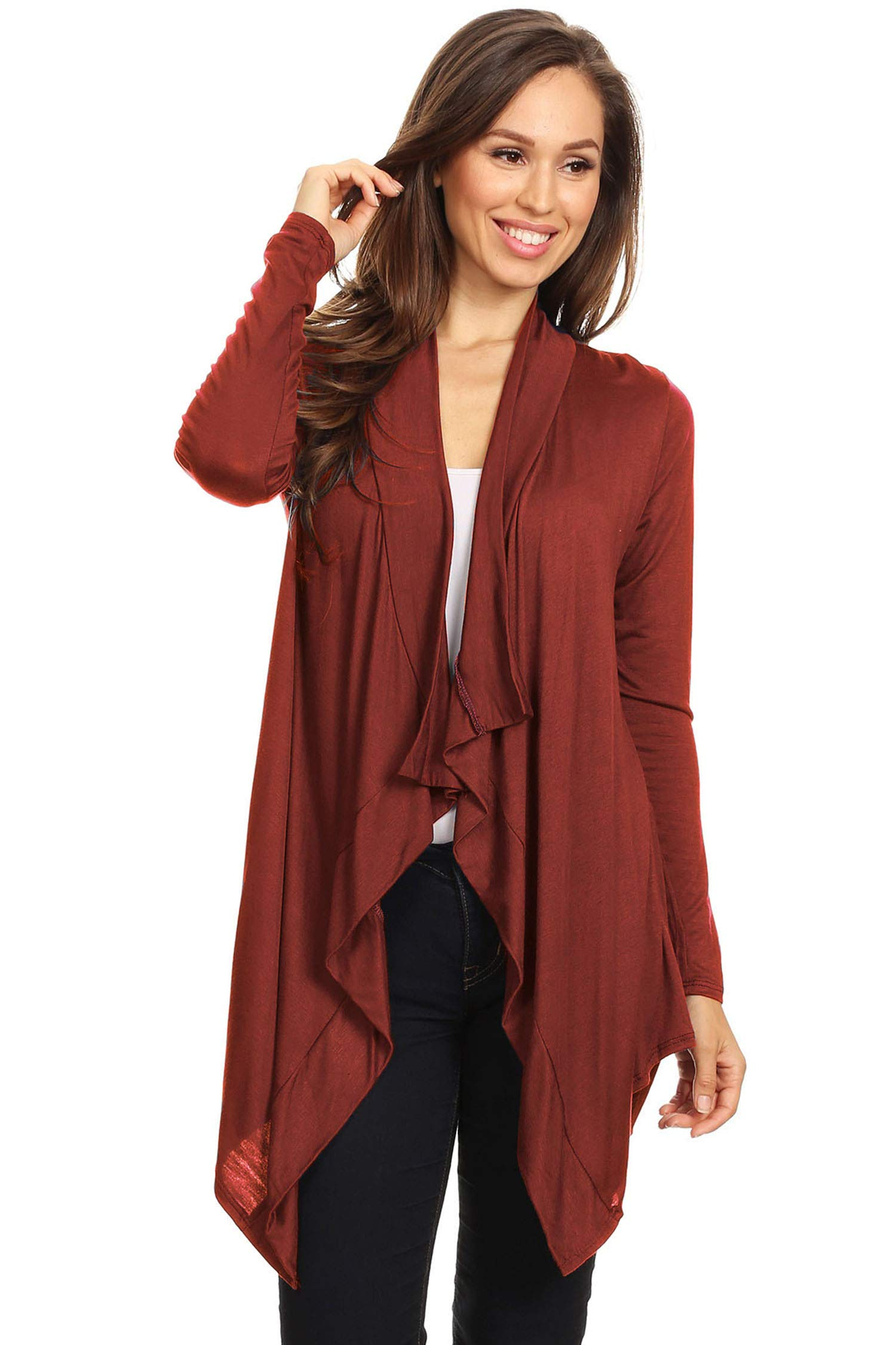 Casual Solid Knit Long Body Open Front Cardigan Sweater/Made in USA Rust M