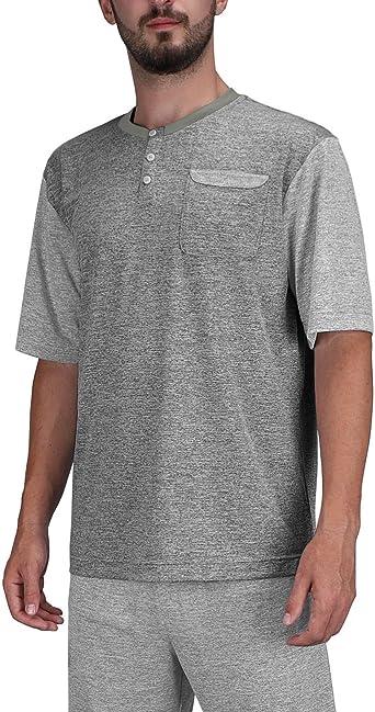DISHANG Camisa Henley de Manga Corta para Hombres Moda Casual Tapeta Delantera Tees Pijama Básicos Camisa con Botones: Amazon.es: Ropa y accesorios