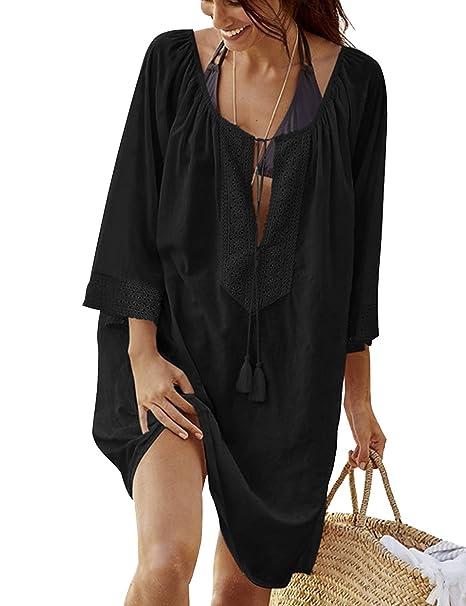 3bff119ad9 Women's Bathing Suit Cover Up Lace Swimwear Bikini Beach Top Sun Dress Maxi  Black