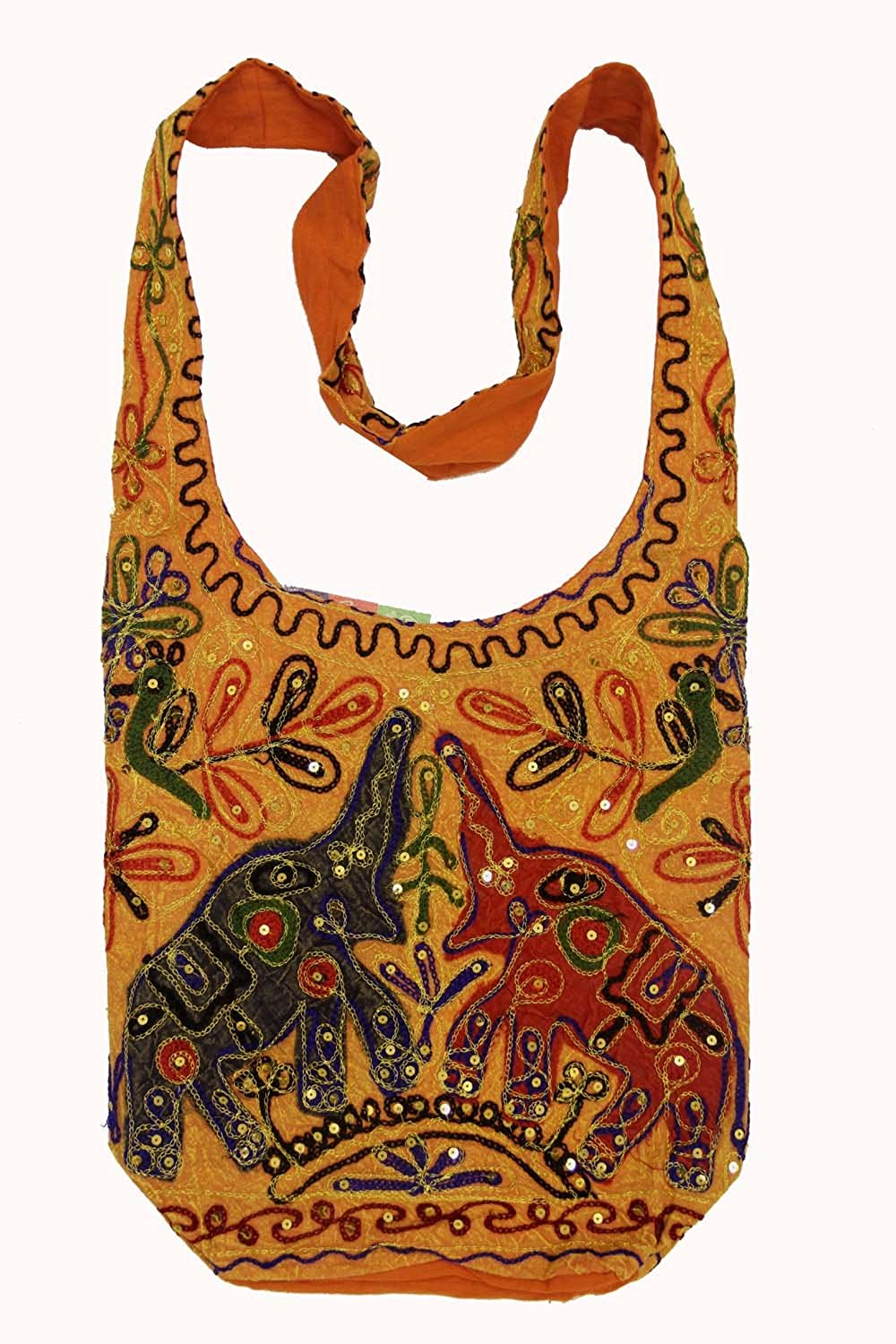 Hobo Bohemian Hippie Gypsy Big Elephant 2 Sides Handcrafted Embroidery Shoulder Sling Crossbody Monk Bag Purse India