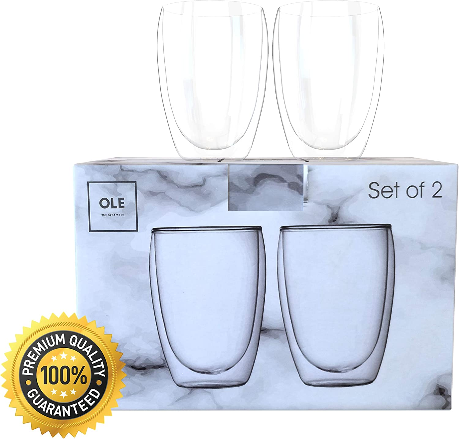 OLE Insulated Glass Coffee Mugs – Set of 2 Double Wall Glass Mugs – 350ml/12oz – Clear Thermal Cups for Espresso, Tea, Beers, Smoothies, Cappuccino – BPA Free, Dishwasher, Freezer & Microwave Safe