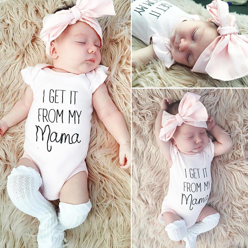 Stirnband Strampler Sommer Kleidung Carolilly Neugeborenes Baby M/ädchen Kurzarm Bodys R/üschen Romper Overalls