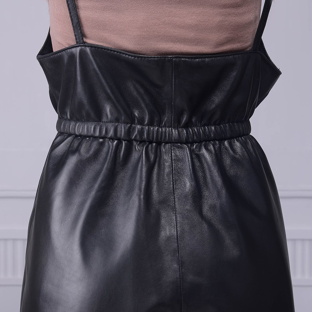 Jiashibao Women Pure Sheep Leather Short Jumpsuits V-Neck Elastic Waist Wide Legs Black Shorts Overalls (XL) by Jiashibao (Image #6)