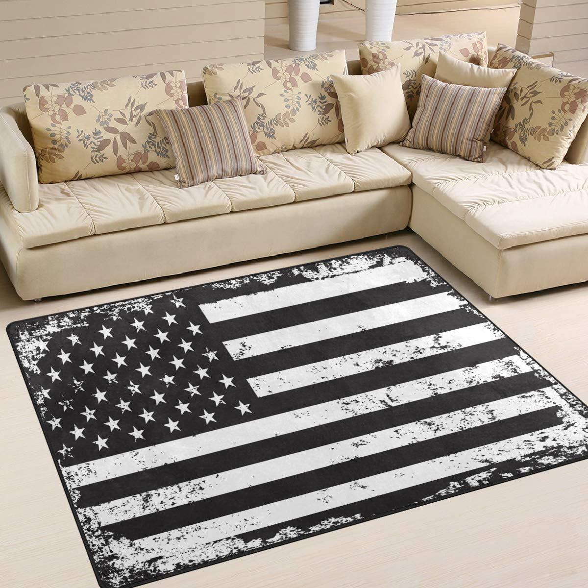 Use7 Alfombra de dise?o Vintage con Bandera de Estados Unidos, Color Blanco y Negro, Tela, 203cm x 147.3cm(7 x 5 Feet): Amazon.es: Hogar