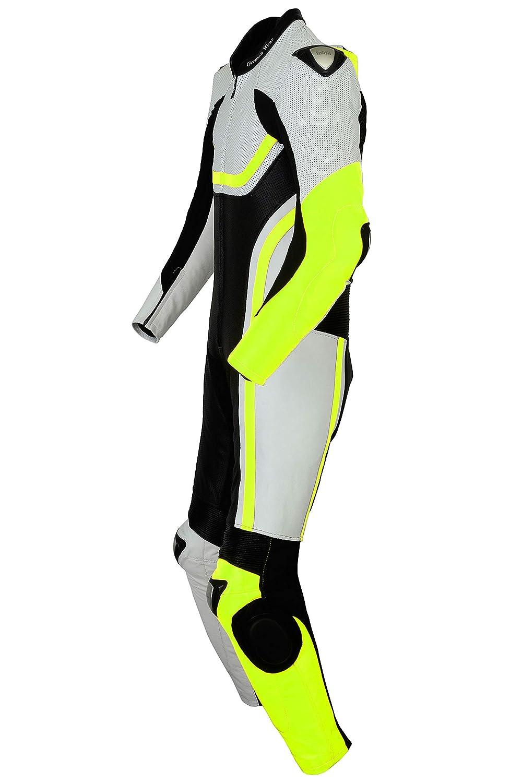 German Wear Fluoreszierender Einteiler Motorradkombi Motorrad Lederkombi aus Rindsleder echtleder Kombi Farbe:Gr/ün Gr/ö/ße:62//5XL