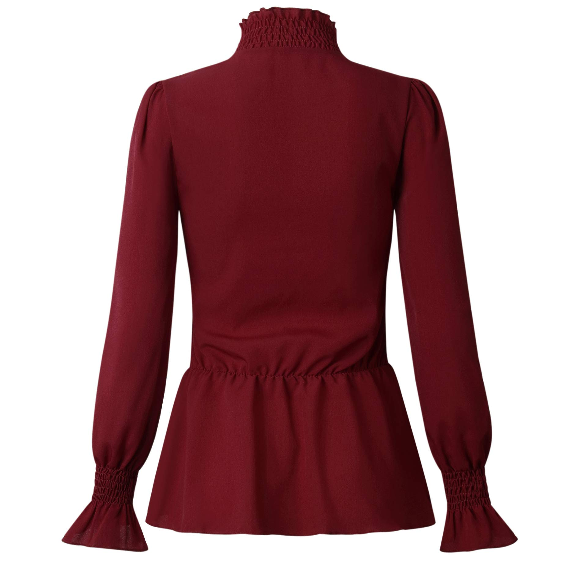 ThusFar Women\'s Peplum Dressy Tunic Tops - Elegant Ruffle Bell Sleeve Sweater X-Large Wine Red